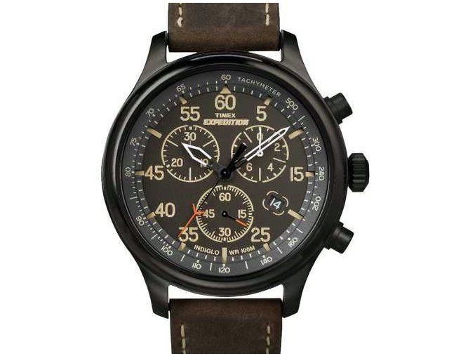 Timex Expedition Field Watch T49905 Black Dial Brown Strap